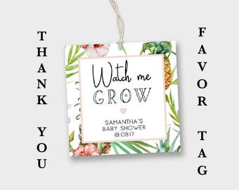 Watch me Grow Tag, Baby Shower Favor Tag, Favour Tag, Pineapple Favor Tag, Pineapple Baby Shower, Tropical Party, Decorations, Printable