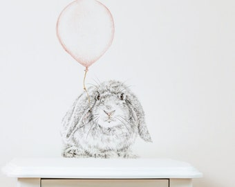 Bunny with Balloon Repositionable Removable Wall Decal