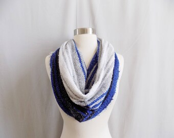 Blue Cowl- Boho Scarf- Bohemian Style- Bohemian Accessories- Snood- Mexican Blanket- One Of a Kind- Knitted Cowl- Boho Scarf- Cowl Scarf