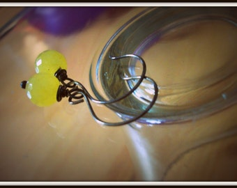 Wire Wrapped and Oxidized Lemon Drop Faceted Earrings