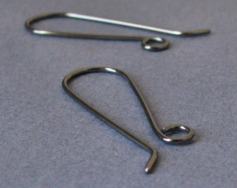 Oxidized Ear Wires, Sterling Silver Long French, Handmade Earwire Supplies, 2 pairs