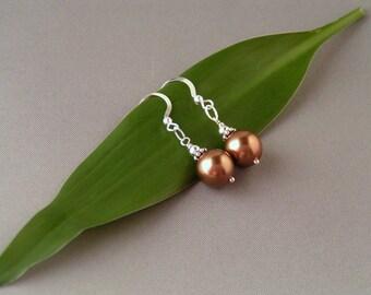 SALE - Bronze Glass Pearl Earrings