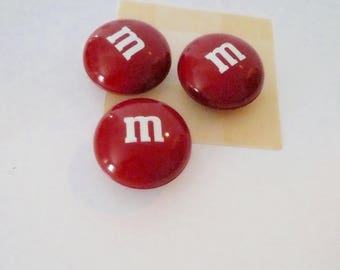 Round Tin Lithograph Container Red Storage Collectible Candy Tin M & M