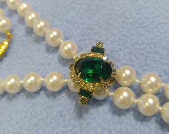 Quality 8 mm Faux Pearl with Emerald and Rhinestone Enhancer, Clip Pendant