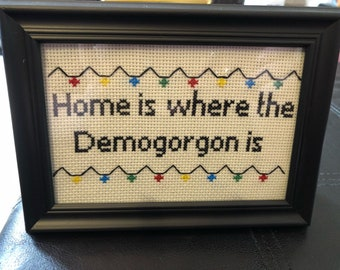A fun Stranger Things Inspired cross stitch
