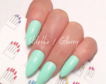 Stiletto, Glossy, Mint Green Hand Painted Nail Tips / Press On / Stick On / Fake Nails - 12 pcs or 20 pcs