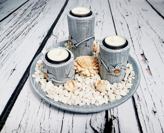 Wooden candleholders set centerpiece round plate holders