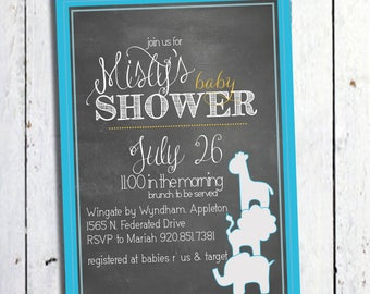 Stacked animals at the zoo - baby shower invitation - DIY - PRINT YOURSELF or purchase prints