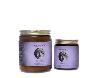 Ground with Vetiver Oil  Waxing Gibbous Moon Essential Soy Candle