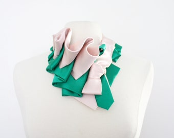 Aster Necktie Scarf in Color Block - Blush + Kelly Green