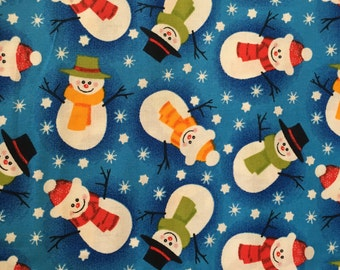 VIP Cranston Cotton Christmas Fabric - Snowmen on a Blue Background