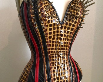 PUIMOND PY12 Patent Leather Repltile w/ Spikes Plunge Fetish Punk Corset Size 20 In-Stock
