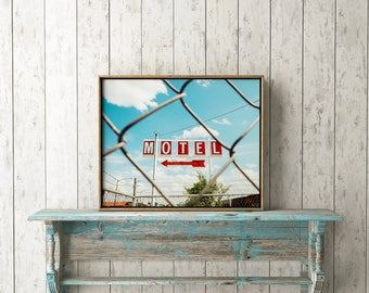 "Old Signs, Vintage Signs, Fine Art, Urban Print, Urban Wall Art, Urban Art, Printable Wall Art, Printable Art, Wall Decor, Red ""Hotel Motel"""