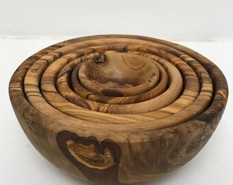 Set of Six Olive Wood Nesting Bowls