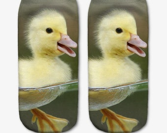 Favorite animal duck duckling funny socks low cut ankle alien high quality printing and material
