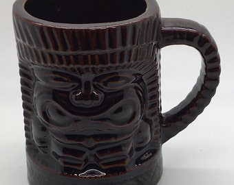 Tiki Mug Orchids Of Hawaii Dark Brown With Handle Coffee Tea Mug Man Cave Tiki Bar Coffee Tea Mug Hawaiian Decor Party