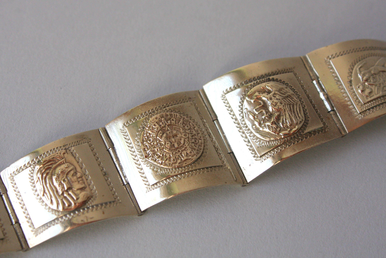 1940er Jahre Sterling Taxco Armband / Vintage 40er Jahre Maya