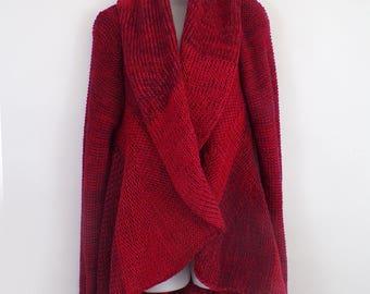 Red Alpaca Wool Hooded Sweater Coat Cardigan OFFER!