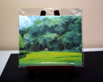 Original Oil Painting on Canvas Board - Lonely Bench