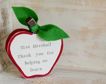 Wooden teacher thank you apple, end of term, class of 2017, present, gift