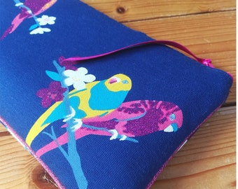Glasses cases blue thick Jersey with glittery birds pattern, Parakeet, cosmetic makeup/cosmetic, keys, card