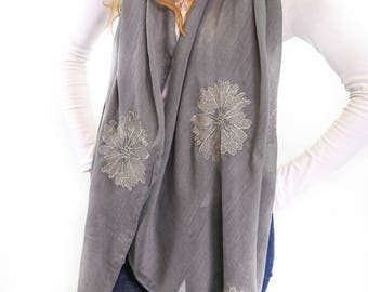 Grey Scarf for Women with Gold Floral Pattern Monogram Personalized Gift Oversized Scarf Womens Scarves Mother Gift,Gift for Her,Bridesmaids