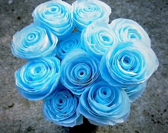 Handmade Coffee Filter Flower Bouquet - One Dozen Hand-Dyed Blue Coffee Filter Roses - Handmade Paper Flower Bouquet - Coffee Lovers