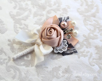 Blush Ivory Navy Rosette Boutonniere/ 12 available/ Mens Lapel Pin/ Handmade Wedding Accessory