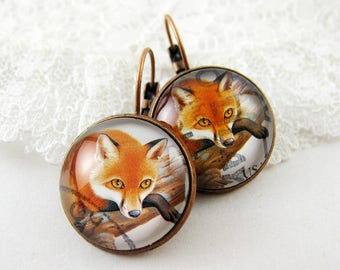 Lazy Red Fox Leverback Earrings, 1998 USA Postage Stamp, Cute Forest Animal Jewelry, Nickel Free Copper, Orange, Unique Gift Idea Under 35