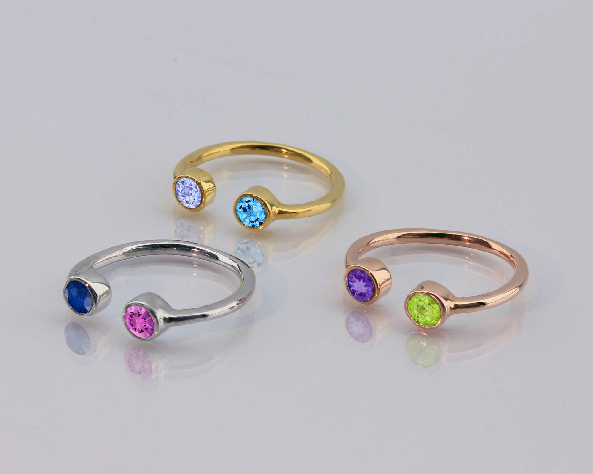 dual birthstone ring two ring birthstone ring