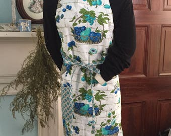 Full-size Adult Apron Adjustable Reversible Handmade from Vintage Kitchen Fabric