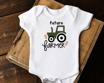 Little Farmer Onesie®, Baby Boy Clothes, Baby Boy Little Farmer Bodysuit, Green Tractor Onesie, New Mom Gift, Newborn Onesie