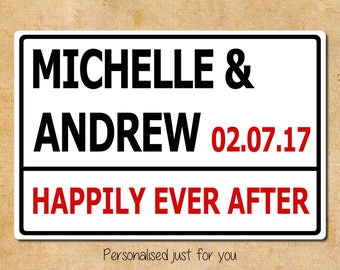 Personalised Happily Ever After London Street Sign Style Metal Sign 20.5x30.5cm Anniversary Christmas Gift Customise with Names, Date