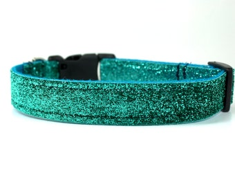 Teal Glitter Dog Collar - Teal Dog Collar - Blue Dog Collar - Glitter Dog Collar - Sparkly Dog Collar - Girl Dog Collar - Boy Dog Collar