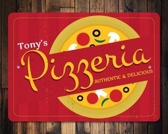 Pizzeria Sign, Pizzeria Decor, Pizzeria Owner Gift, Pizza Lover Gift, Pizza Maker Gift, Pizza Sign, Pizza Decor - Quality Aluminum ENS100045