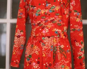 Vintage 60s 70s Yves Jennet Maxi Dress / Medium / Floral Print