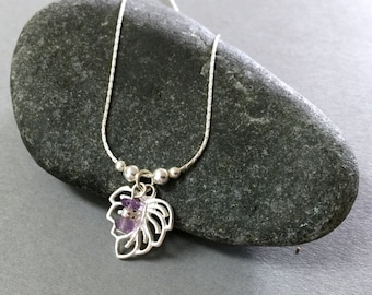 Sterling silver leaf and Amethyst necklace, Sterling silver necklace, Sterling silver leaf necklace, Silver leaf jewelry, Dainty necklace