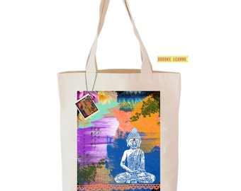 Buddha Tote Bag, Reusable Shopper Bag, Farmers Market Bag, Cotton Tote, Shopping Bag, Eco Tote Bag, Reusable Grocery Bag, Printed in USA