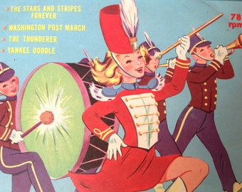 Vintage Children's Record from 1959 78 rpm Peter Pan Records Marching Songs