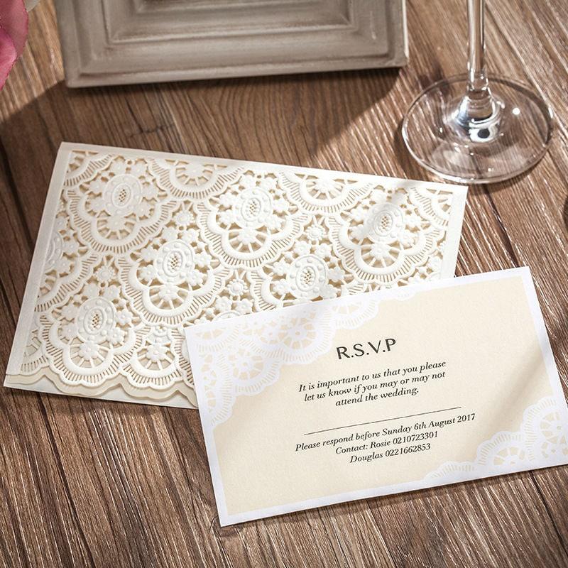 12 Victorian Wedding Invitations with RSVP/Blank Elegant Wedding ...