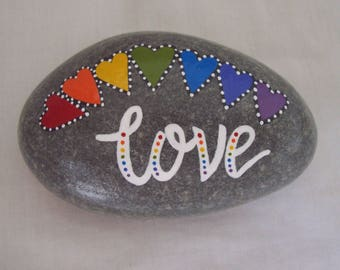 Painted Pebble LOVE Message Pebble Hand Painted Natural Pebble