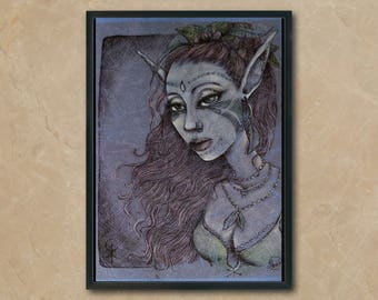 """Art print, print on paper like blue or beige leather, or Faery/fairy linen paper, gift decor art, size A4 """"Elf"""""""