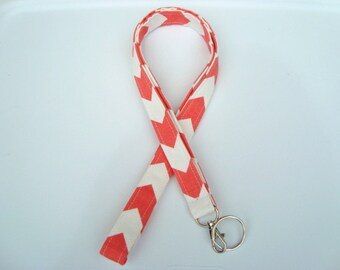 Lanyard ID Holder Key Chain Comes with ID Badge Cover  Coral  Chevron Zig Zag