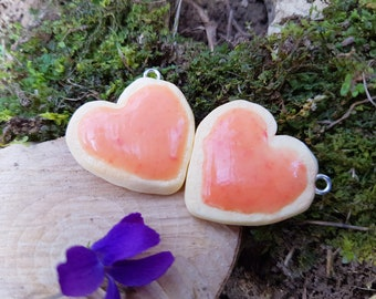 Heart Shaped Polymer Clay Sugar Cookies With Pink Icing Charms