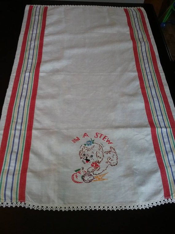 Kitchen Dish Towel, Vintage Kitchen Dish Towel, Vintage Tea Towel with Hand Embroidery, Dog on a Kitchen Towel, Striped Retro Kitchen Towel