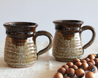 Set of 2 Handmade Studio Ceramic Cabin Pottery Mugs