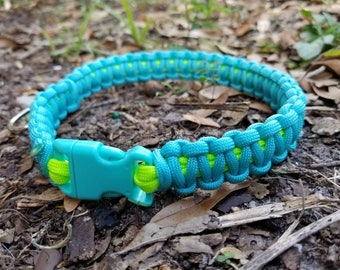 Blue and neon green Paracord dog collar