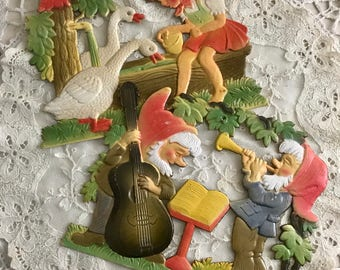 German Diecuts Antique Cardboard Musical Gnomes Girl and Geese Fairytale