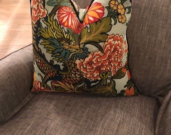 Chiang Mai Dragon Schumacher Pillow in Jade 18, 20, 22, 24 inch or Custom Square Pillows with Piping, Green and Navy Chinoiserie Print
