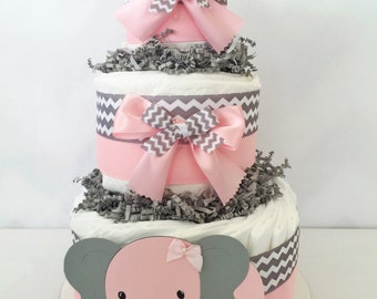 Elephant Diaper Cake For Girls In Pink And Gray , Elephant Theme Baby Shower  Centerpiece,